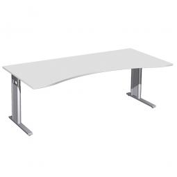 Schreibtisch PREMIUM höhenverstellbar, Lichtgrau/Silber, BxTxH 2000x800/1000x680-820 mm