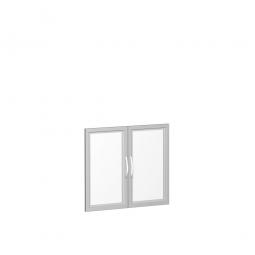 Flügeltür FLEX, 2 Ordnerhöhen, mit Glasausschnitt, Breite 800 mm, mit Metallscharnieren und Türdämpfern
