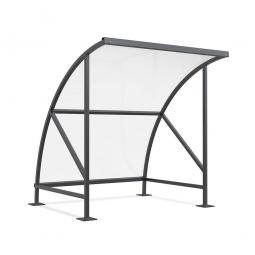Raucher- und Pausenunterstand, Rahmen anthrazitgrau RAL 7016, BxTxH 2090 x 2100 x 2290 mm