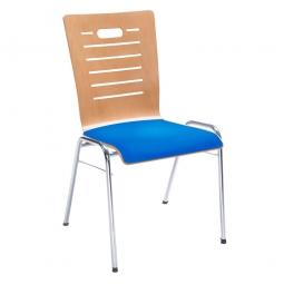 Holzschalen-Stapelstuhl, mit Sitzpolster blau, Gestell aus Rundrohr 20x1,5 mm, verchromt
