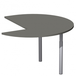 Dreiviertelkreis-Anbauplatte PREMIUM links, Graphit/Silber, BxTxH 1200x1200x680-820 mm, höhenverstellbar