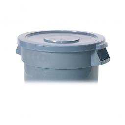Deckel für Mehrzweckbehälter 208 Liter, grau, Ø 675 mm, Polyethylen-Kunststoff (PE)