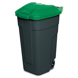 Fahrbare Tonne, PP, BxTxH 510 x 550 x 850 mm, 100 Liter, anthrazit/grün