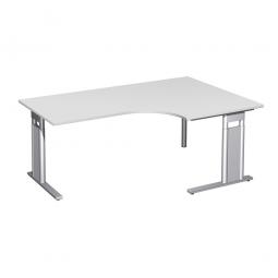 Schreibtisch PREMIUM, Tischansatz rechts, Lichtgrau/Silber, BxTxH 1800x800/1200x680-820 mm
