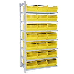 Anbauregal, verzinkt, HxBxT 2000x1035x515 mm, 7 Böden, 21 Sichtboxen LB 2T Farbe gelb