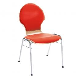 Holzschalen-Stapelstuhl, Mit Sitz- und Rückenpolster in Farbe rot