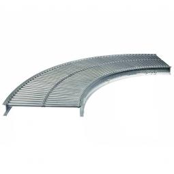 Klein-Rollenbahnkurve: 90°, Innenradius: 800 mm, Bahnbreite: 400 mm, Achsabstand: 50 mm, Tragrollen Ø 20x1,0 mm