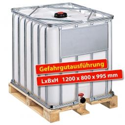 IBC-Container, 600 Liter, auf Holzpalette, LxBxH 1200 x 800 x 995 mm, weiß, Gefahrgutausführung