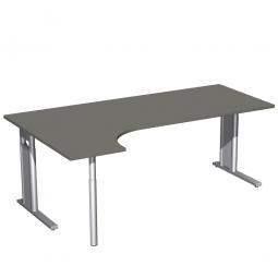 Schreibtisch PREMIUM, Schrankansatz links, Graphit/Silber, BxTxH 2000x800/1200x680-820 mm