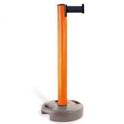 Mobiler Pfosten mit Absperrgurt, Pfosten orange, Gurt schwarz, Höhe 970 mm
