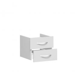 Schubladenset FLEX, lichtgrau, Breite 400 mm, hochwertige Metallgriffe in silbermatt