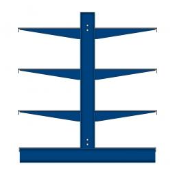 Kragarmregal mit Fachböden, doppelseitige Nutzung, BxTxH 4295 x 1100 x 1980 mm, Achsmaß 1060 mm, Gesamt-Tragkraft 9450 kg