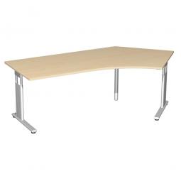 Schreibtisch ELEGANCE 135° rechts, höhenverstellb., Dekor Ahorn, Gestell Silber, BxTxH 2166x1130x680-820 mm