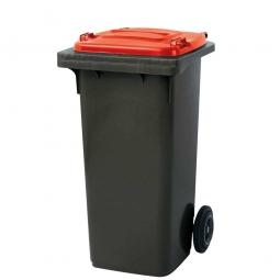 120 Liter MGB, Müllbehälter in anthrazit mit rotem Deckel