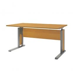 Schreibtisch mit C-Fußgestell, Farbe silber, Platte Buche, BxTxH 1200x800x680-820 mm