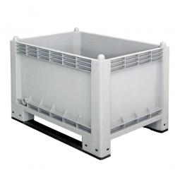 Volumenbox / Industriebox mit 2 Kufen, 300 Liter, LxBxH 1000 x 700 x 650 mm, Wände/Boden geschlossen, grau