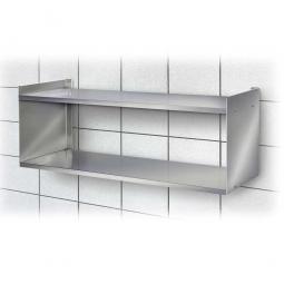 Edelstahl-Wandregal mit 2 Böden, BxTxH 700 x 250 x 360 mm, Tragkraft 15 kg / Boden