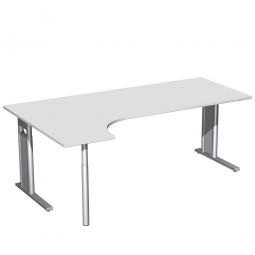 Schreibtisch PREMIUM, Schrankansatz links, Lichtgrau/Silber, BxTxH 2000x800/1200x680-820 mm