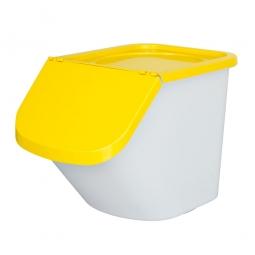 Sortierbox, 40 Liter, Korpus weiß, Deckel gelb, Polypropylen (PP), LxBxH 610 x 430 x 450 mm