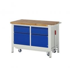 """Fahrbare Werkbank """"Profi"""", absenkbar, 2 Schubladen, 2 Türen, Fahrbar, BxTxH 1250x700x880 mm"""