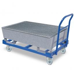 Fahrbare Auffangwanne mit 200 Liter Auffangvolumen und verzinktem Gitterrost, BxTxH 1235 x 815 x 230/580 mm, Auffangwanne verzinkt