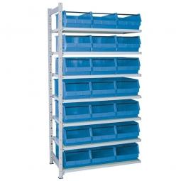 Anbauregal, verzinkt, HxBxT 2000x1035x515 mm, 7 Böden, 21 Sichtboxen LB 2T Farbe blau