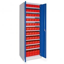 Schrank mit Regalkästen rot, LxBxH 400 x 91 x 81 mm, Türen in enzianblau RAL 5010
