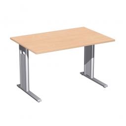 Schreibtisch PREMIUM höhenverstellbar, Rechteck, Buche/Silber, BxTxH 1200x800x680-820 mm