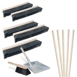 Besen-Spar-Set 10-teilig, 5x Roßhaar-Saalbesen Länge 500 mm, 5x Besenstiel +GRATIS: 1x Kehr-Set