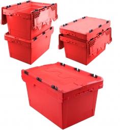 5x Universal Klappdeckelboxen, verplompbar, LxBxH 600 x 400 x 300 mm, 47 Liter, rot