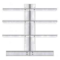 Kragarmregal, doppelseitige Ausführung, BxTxH 1410 x 2x600 x 2000 mm, Gesamt-Tragkraft 1760 kg