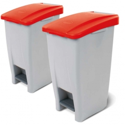 Spar-Set, 2x 60 Liter Tret-Abfallbehälter, BxTxH 380 x 490 x 700 mm, Deckelfarbe rot
