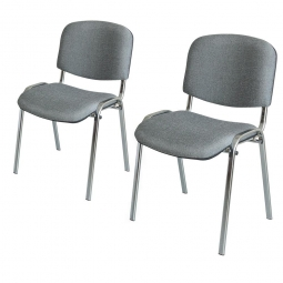 2x Polsterstühle grau, Spar-Set, BxTxH 545 x 425 x 820 mm, Sitz BxTxH 475 x 415 x 470 mm