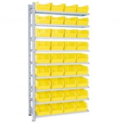 Anbauregal, verzinkt, HxBxT 2000x1035x315 mm, 9 Böden, 36 Sichtboxen LB 3 Farbe gelb