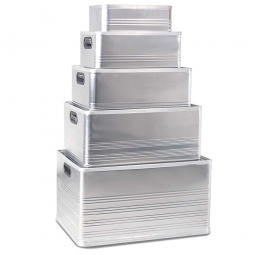 Aluminium-Kästen-Set F, je 1x 14, 29, 50, 79, 118 Liter