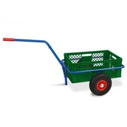 Handwagen mit Kunststoffkorb, H 240 mm, grün, LxBxH 1250 x 640 x 660 mm, Tragkraft 200 kg