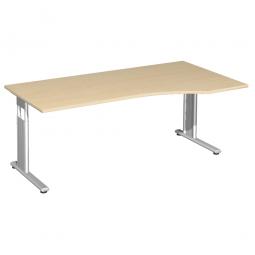 PC-Schreibtisch ELEGANCE rechts, höhenverstellbar, Dekor Ahorn, Gestell Silber, BxTxH 1800x1000x680-820 mm