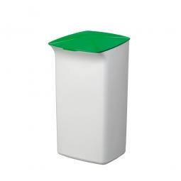 Abfall- und Wertstoffsammler mit Schanierdeckel, HxBxT 640x366x320 mm, 40 Liter, weiß/grün