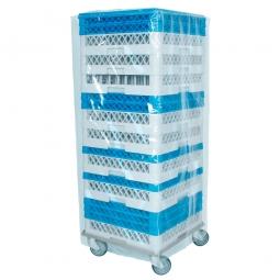Staubschutzhaube für Spülkörbe aus LD-PE, transparent, LxBxH 530x530x1220 mm, 100 µm