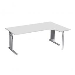Schreibtisch PREMIUM, Schrankansatz rechts, Lichtgrau/Silber, BxTxH 1800x800/1200x680-820 mm