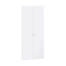 Flügeltüren FLEX für 5 Ordnerhöhen, weiß, Breite 800 mm, mit Metallscharnieren und Türdämpfern