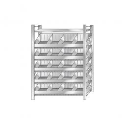 Schüttgutregal, Stecksystem, BxTxH 1290 x 525 x 2000 mm, 5 Ebenen, 20 Schüttfächer, 1 Fachboden, glanzverzinkt