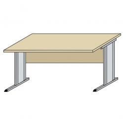Schreibtisch mit C-Fußgestell, Farbe silber, Platte Ahorn, BxTxH 800x800x720 mm