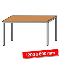 Schreibtisch mit Quadratrohr-Füßen, Farbe silber, Buche, BxTxH 1200x800x680-760 mm