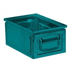 Stapelkasten ST6 aus Stahlblech, 9 Liter, LxBxH 300 x 200 x 150 mm, blaugrün