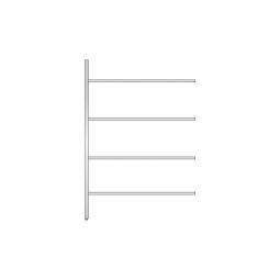 Aluminium-Anbauregal mit 4 Gitterböden, Stecksystem, BxTxH 1375 x 500 x 2000 mm, Nutztiefe 480 mm