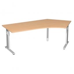 Schreibtisch ELEGANCE 135° rechts, feste Höhe, Dekor Buche, Gestell Silber, BxTxH 2166x800/1130x720 mm