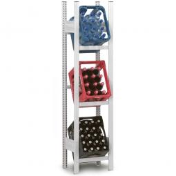 Getränkekistenregal, Grundregal, Stecksystem, BxTxH 560 x 335 x 1750 mm, lichtgrau