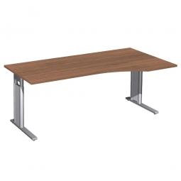 Schreibtisch PREMIUM höhenverstellbar, rechts, Nussbaum/Silber, BxTxH 1800x800/1000x680-820 mm