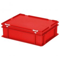 Eurobehälter mit Scharnierdeckel, LxBxH 400 x 300 x 130 mm,11 Liter,  rot